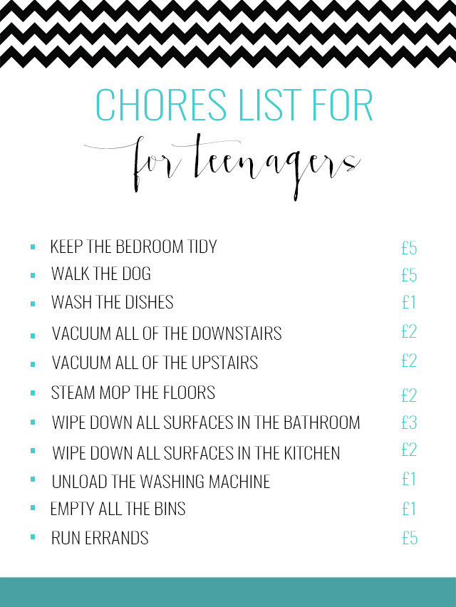 chores list for teenagers what we pay this mama life style