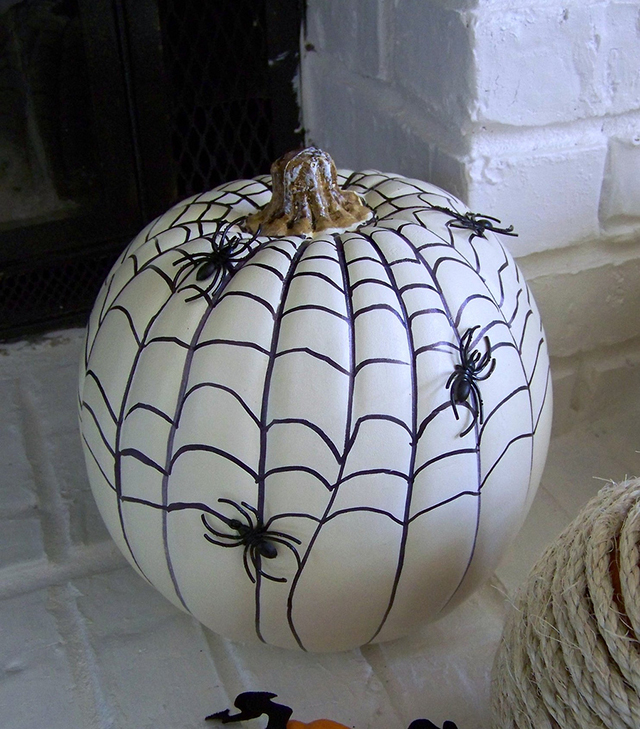 Monochrome hand painted, no carve pumpkin