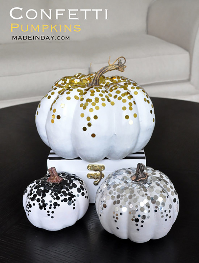 Gold, Copper Metallic handpainted, no carve pumpkins