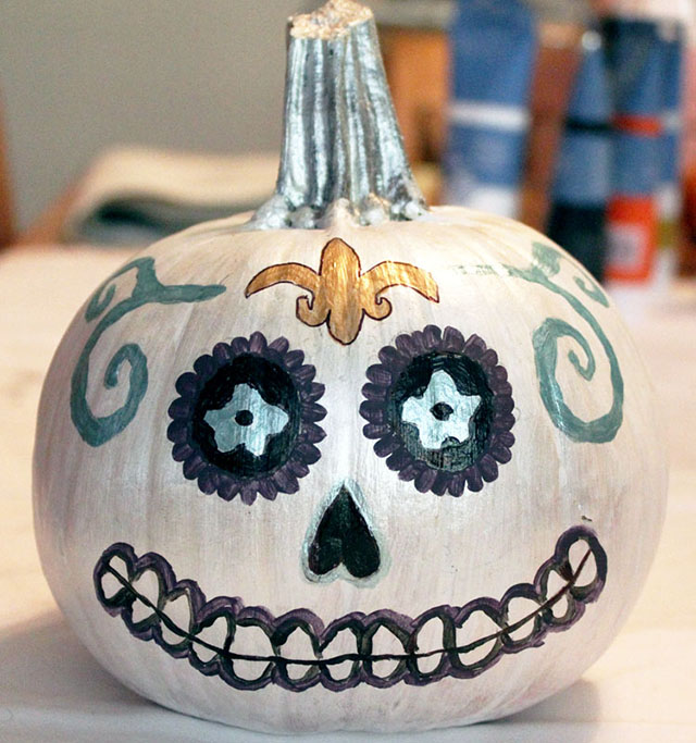 Day of the Dead, Sugar Skull painted pumpkin
