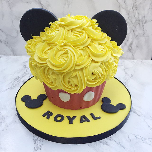Mickey Mouse Giant Cupcake for a Disney & Mickey themed 1st Birthday cake smash